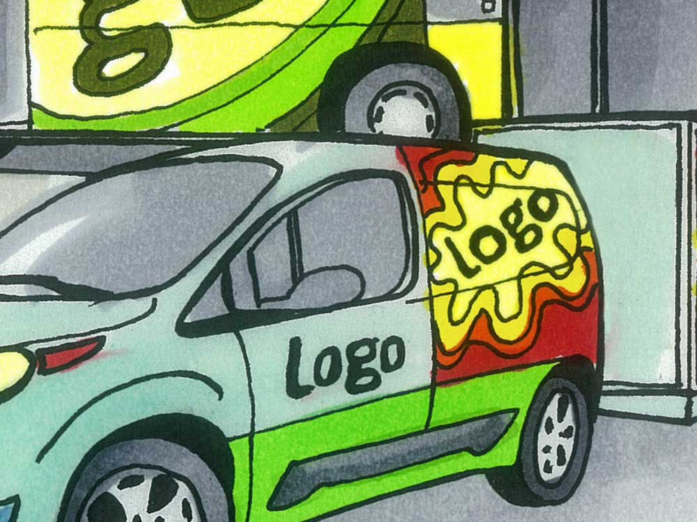 Autoaufkleber auf einem Auto, Logo, Illustration