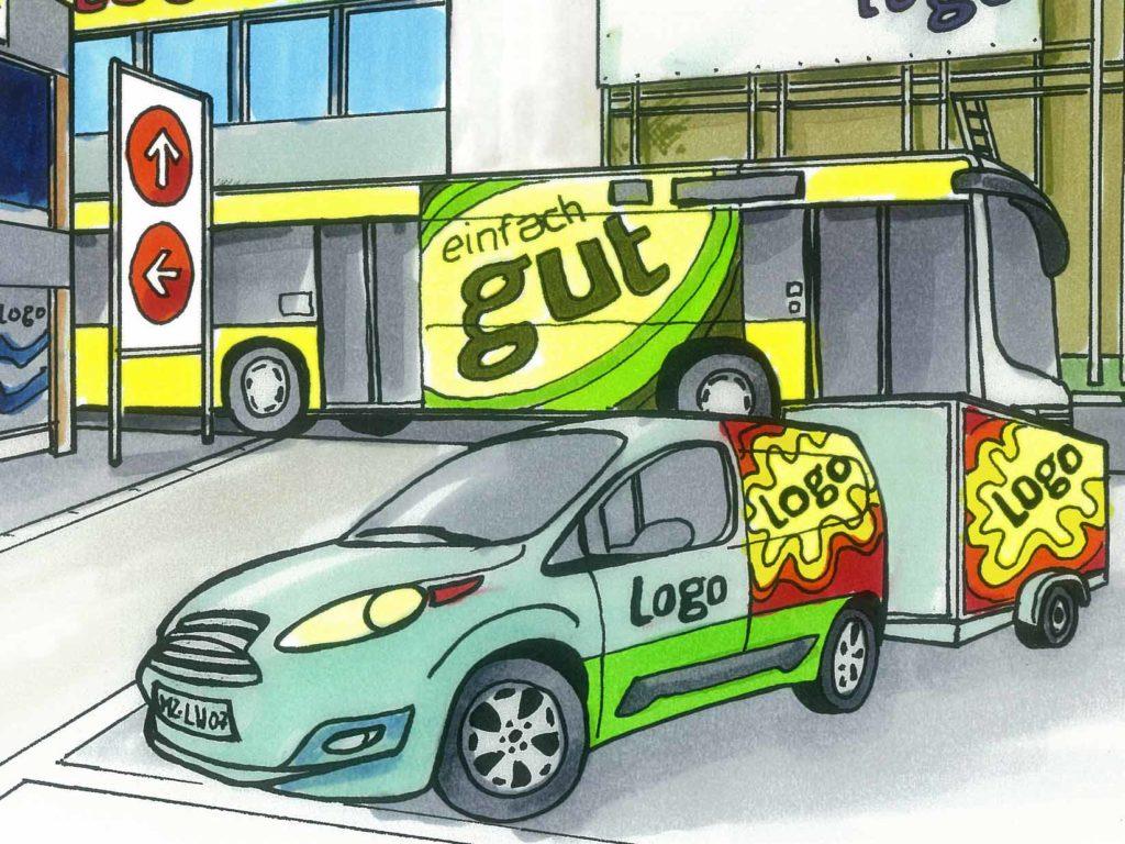 Fahrzeugbeschriftung für PKW, Anhänger, Linienbus