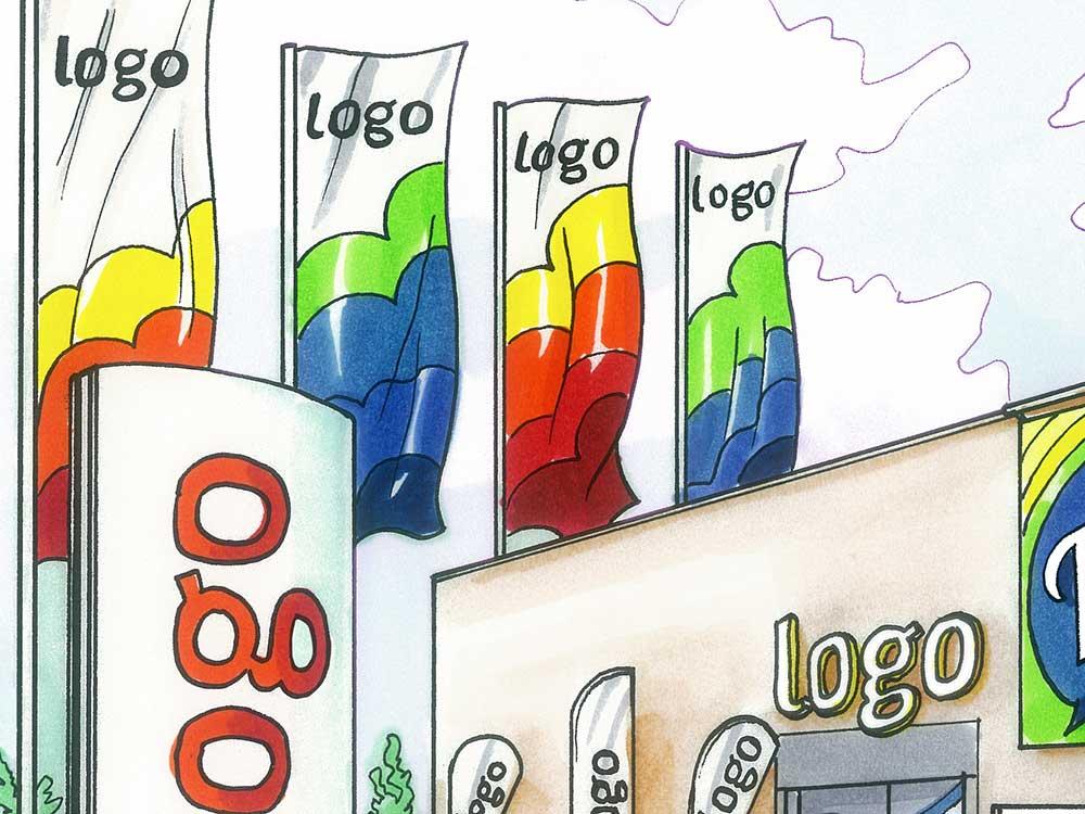 Vier Werbefahnen im Digitaldruck hängen an Fahnenmasten