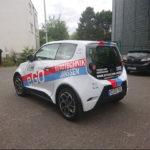 Fahrzeugbeschriftung Mainz e.Go Bosch Janssen Fahrerseite