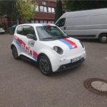 Fahrzeugbeschriftung Mainz e.Go Bosch Janssen Beifahrerseite von vorne