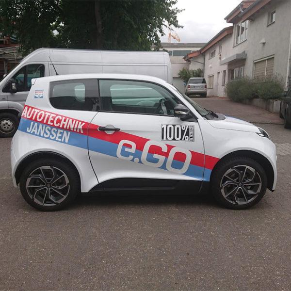 Fahrzeugbeschriftung Mainz e.Go Bosch Janssen