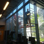 Sonnenschutzfolie an der Glasfassade - Blick von innen