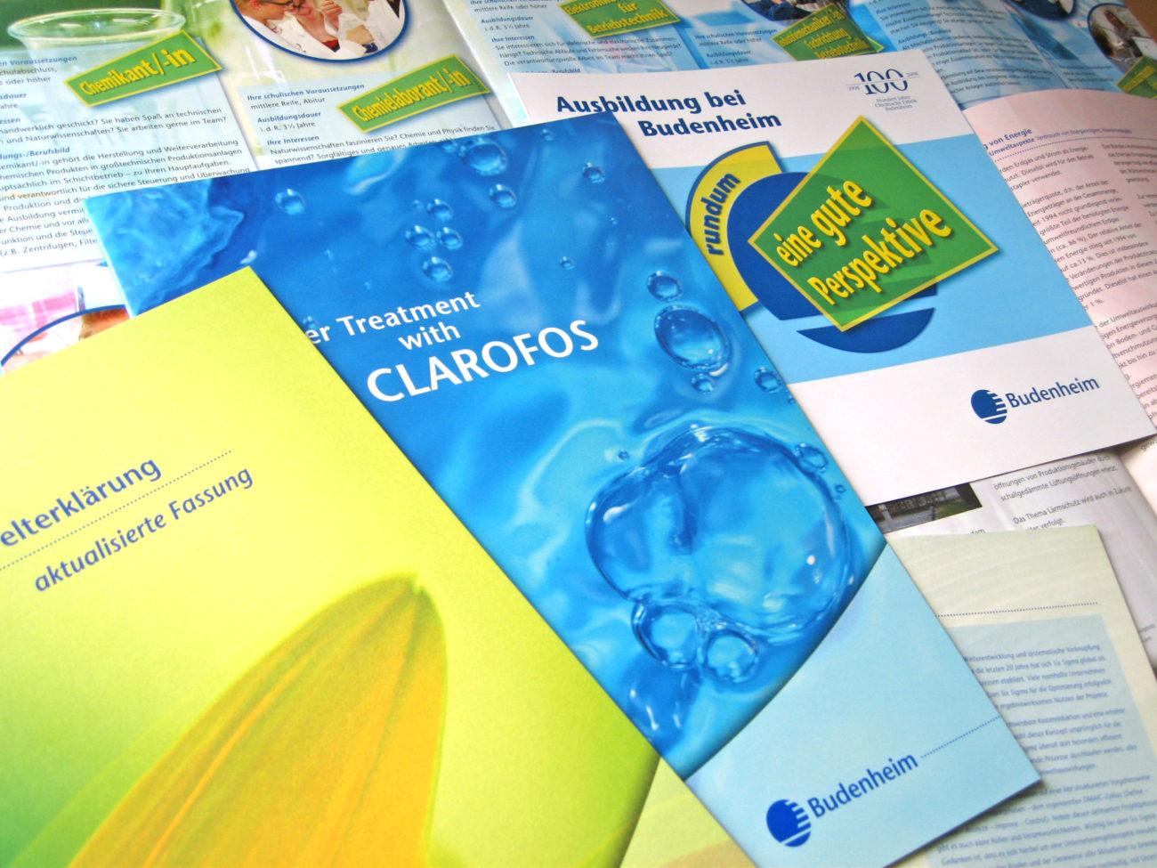 Verschiedene Broschürendesigns für Budenheim