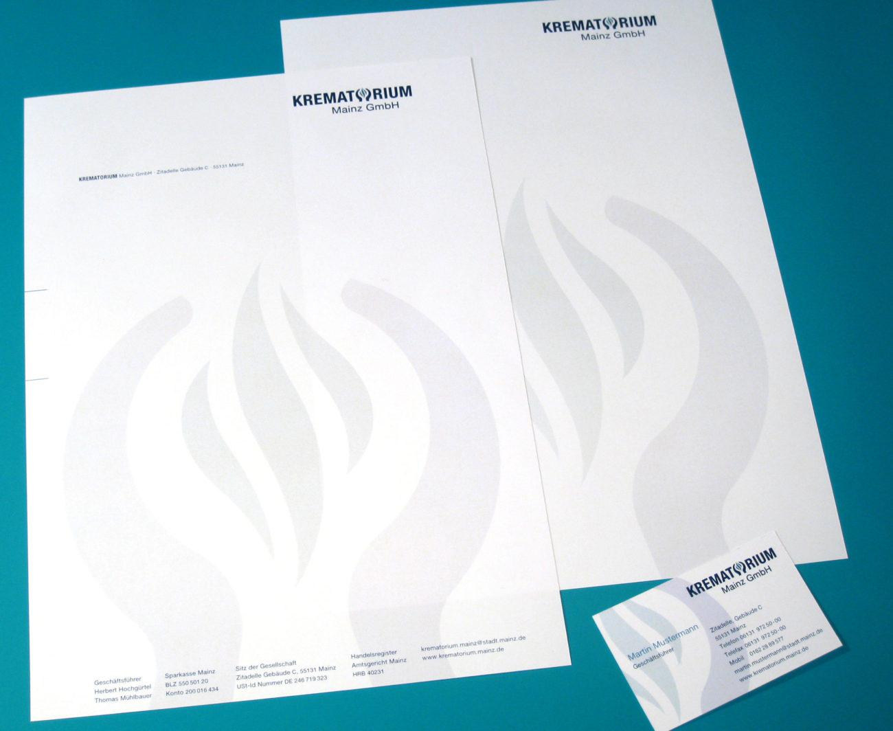 Briefbogen-Design für das Krematorium in Mainz